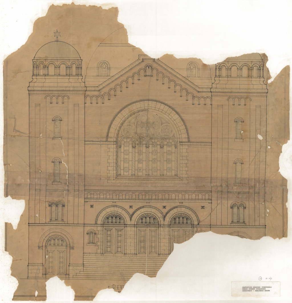 Architectural drawing from 1919–1922 for the Beth Jacob Synagogue on Henry Street. Beth Jacob was the first synagogue in Toronto that was designed by Jewish architect Benjamin Brown.  OJA, fonds 49, series 1, file 2, item 1.