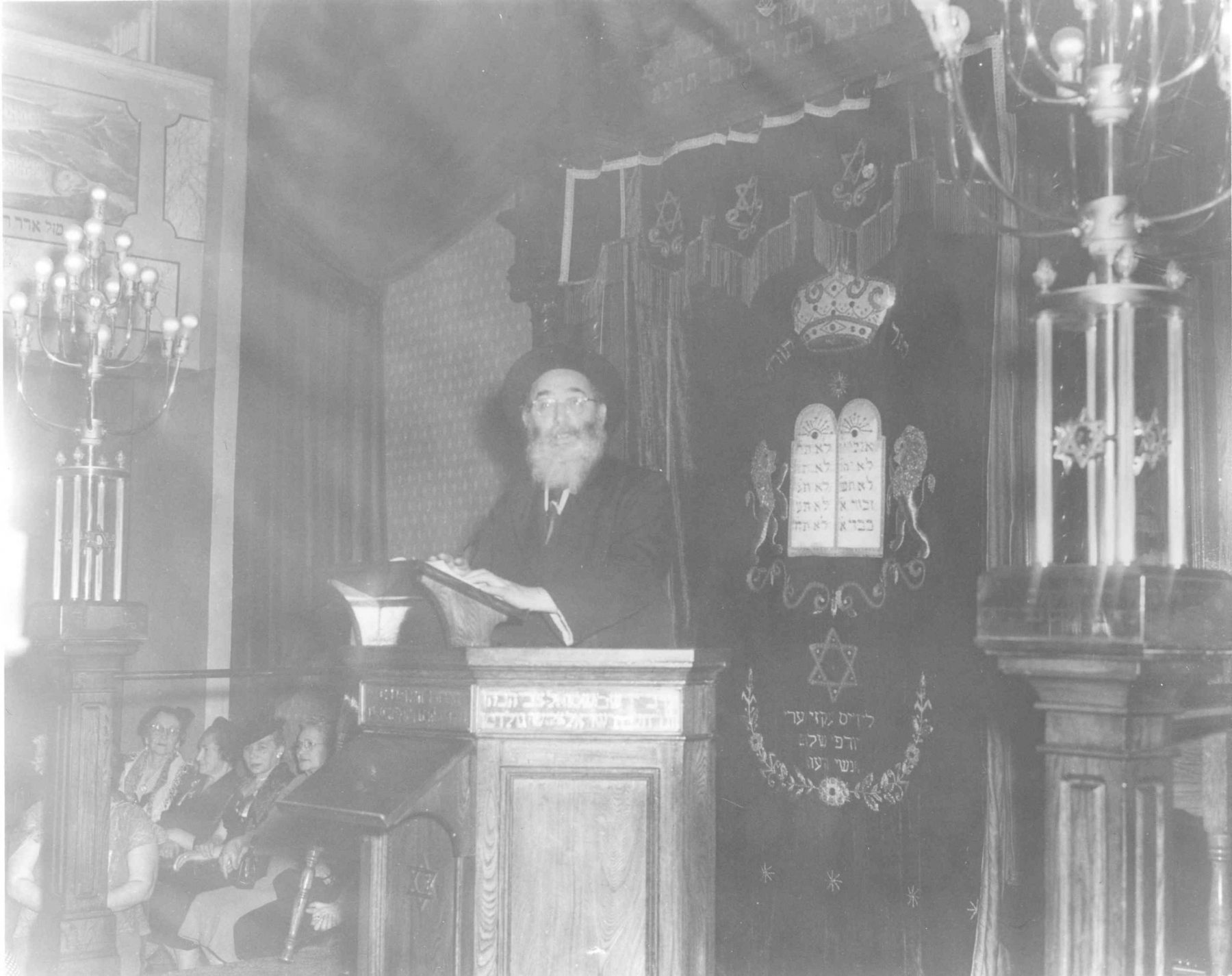 Rabbi Solomon Langner, Kiever Shul, 1950s. Rabbi Langner immigrated to Toronto from Strettin, Poland in 1923. He served the Kiever Shul as a full-time rabbi from 1929 until his death in 1973.   OJA, item 533.