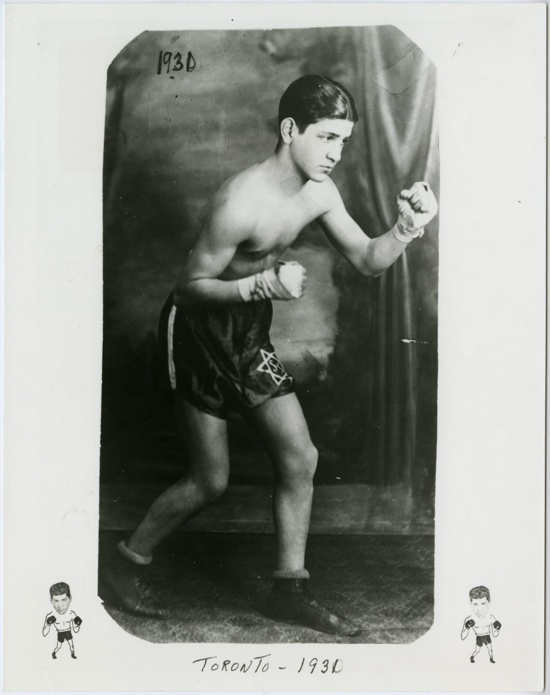 Sammy Luftspring at fourteen years old in 1930. Two years later he began competing in boxing matches. He was a skilled fighter and always showed off his Jewish pride wearing a Magen David on his boxing shorts.   OJA, item 2516.