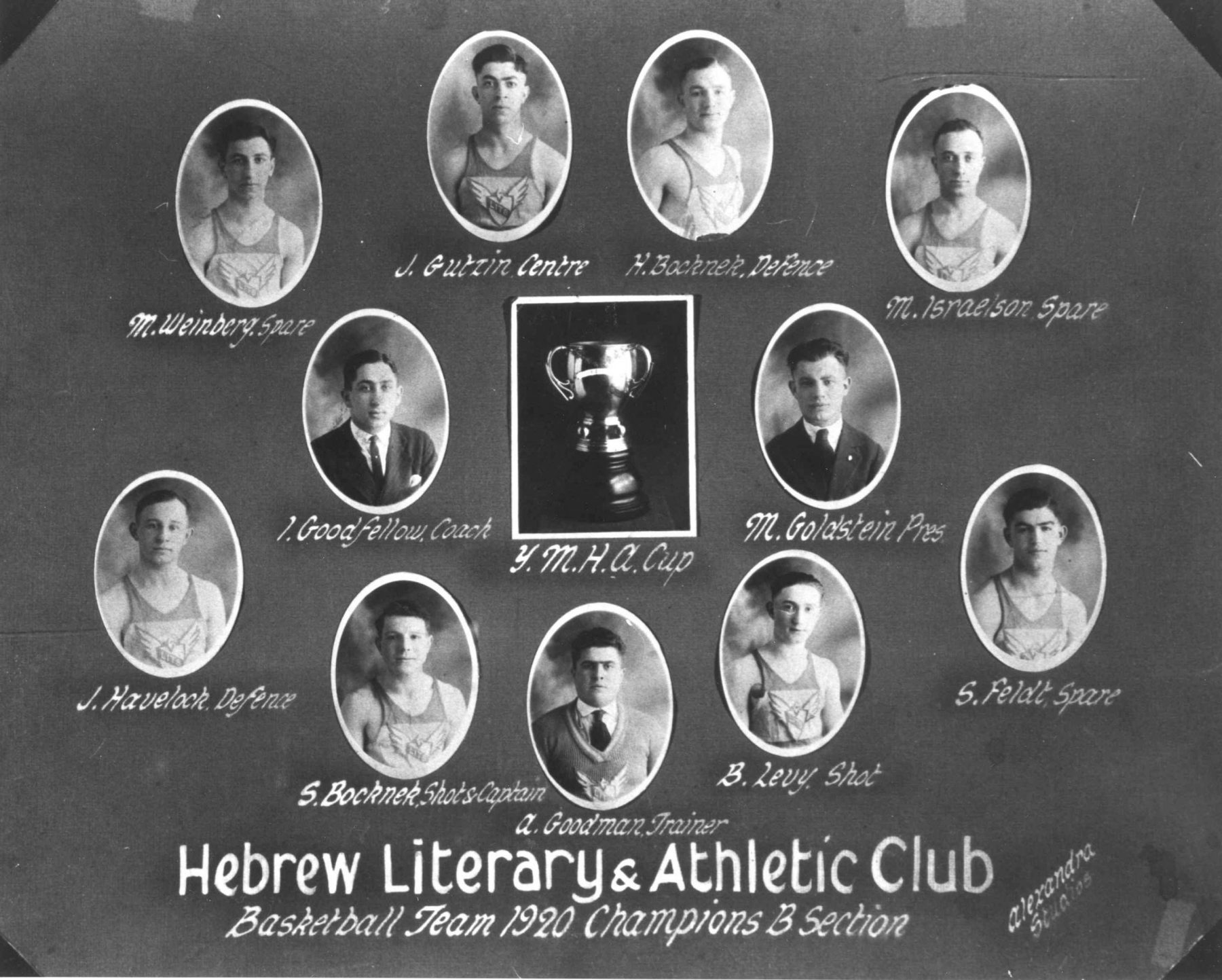 The Hebrew Literary and Athletic Club basketball team from 1920. The Hebrew Literary and Athletic Club was one of the earliest Jewish clubs in Toronto. They were formed in 1914 and, although their name would suggest otherwise, they had a purely athletic mandate. The Hebrew Literary and Athletic Club along with a few other Jewish clubs amalgamated to form an organization known as the Hebrew Association of Young Men's and Young Women's Clubs, the precursor to the YMHA.  OJA, item 1773.