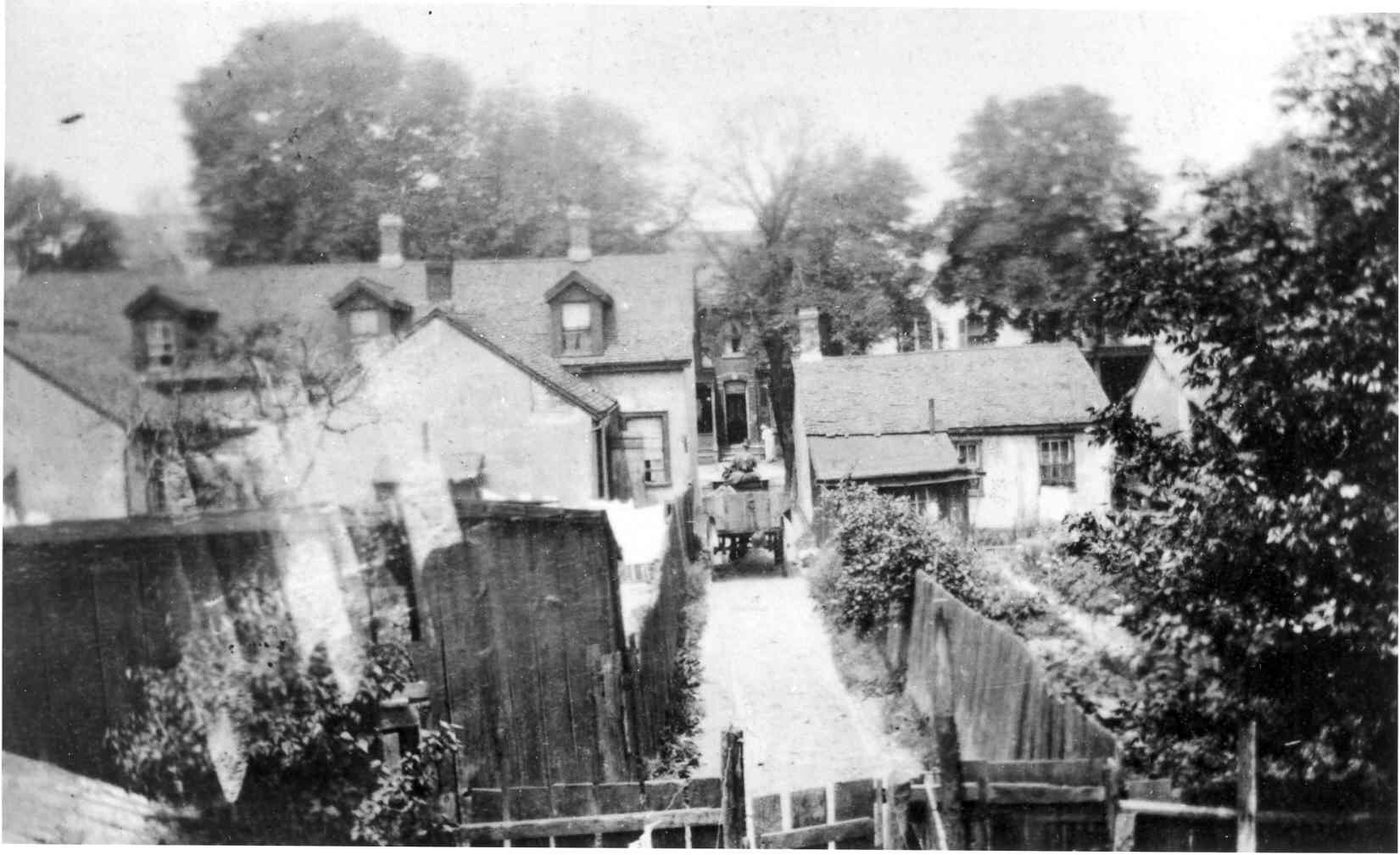 Overhead view of the backyards and laneway behind Menachem Mendel Hyman's residence at 182 Baldwin Street, 23 July 1918. The photo was likely taken from a window on the second floor. In the laneway is a man seated on a horse-drawn wagon.   OJA, item 1168.