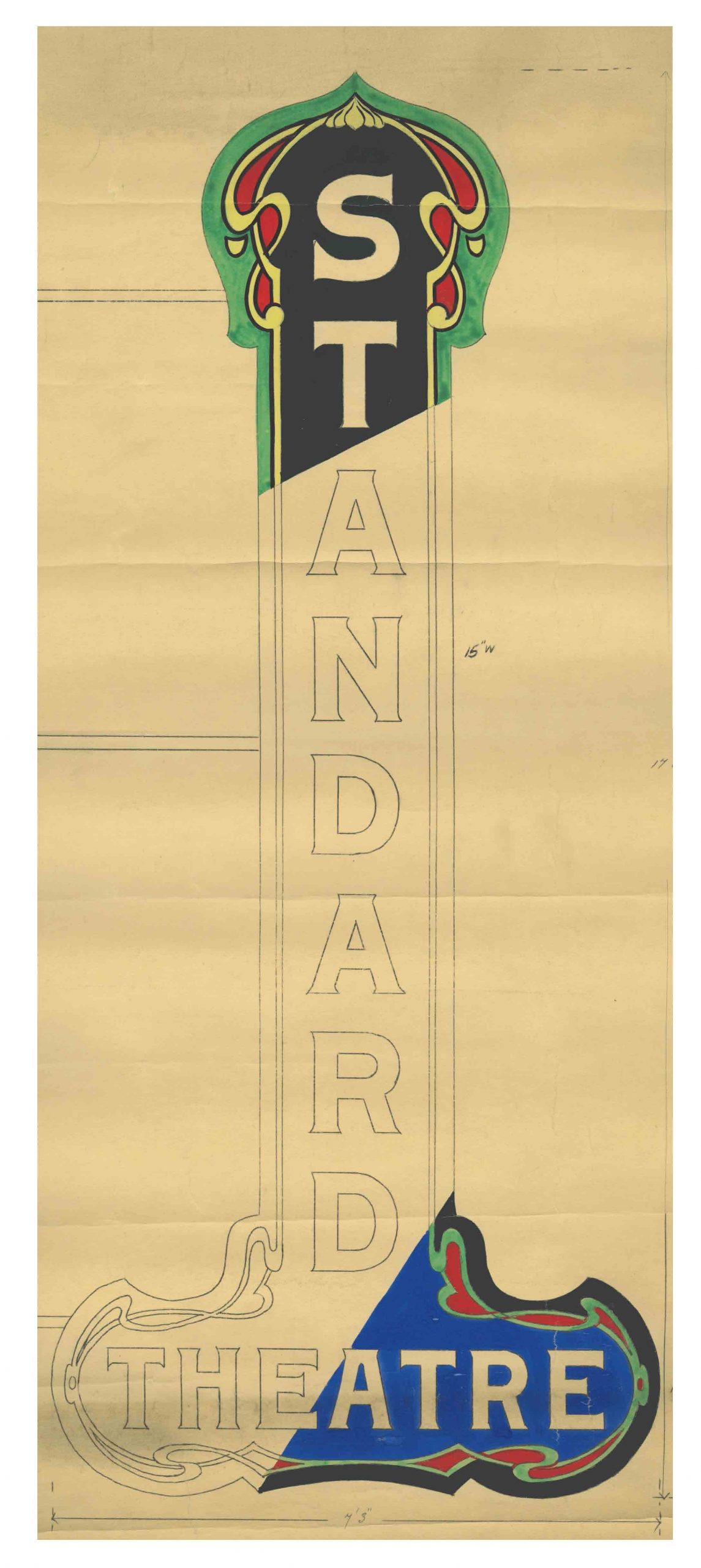 A colour drawing of the theatre sign for the Standard Theatre from 1921-1922. It is uncertain whether this marquee was ever produced. The Standard held its opening performance and ceremony on 31 August 1922.   OJA, fonds 49, series 3, file 104.