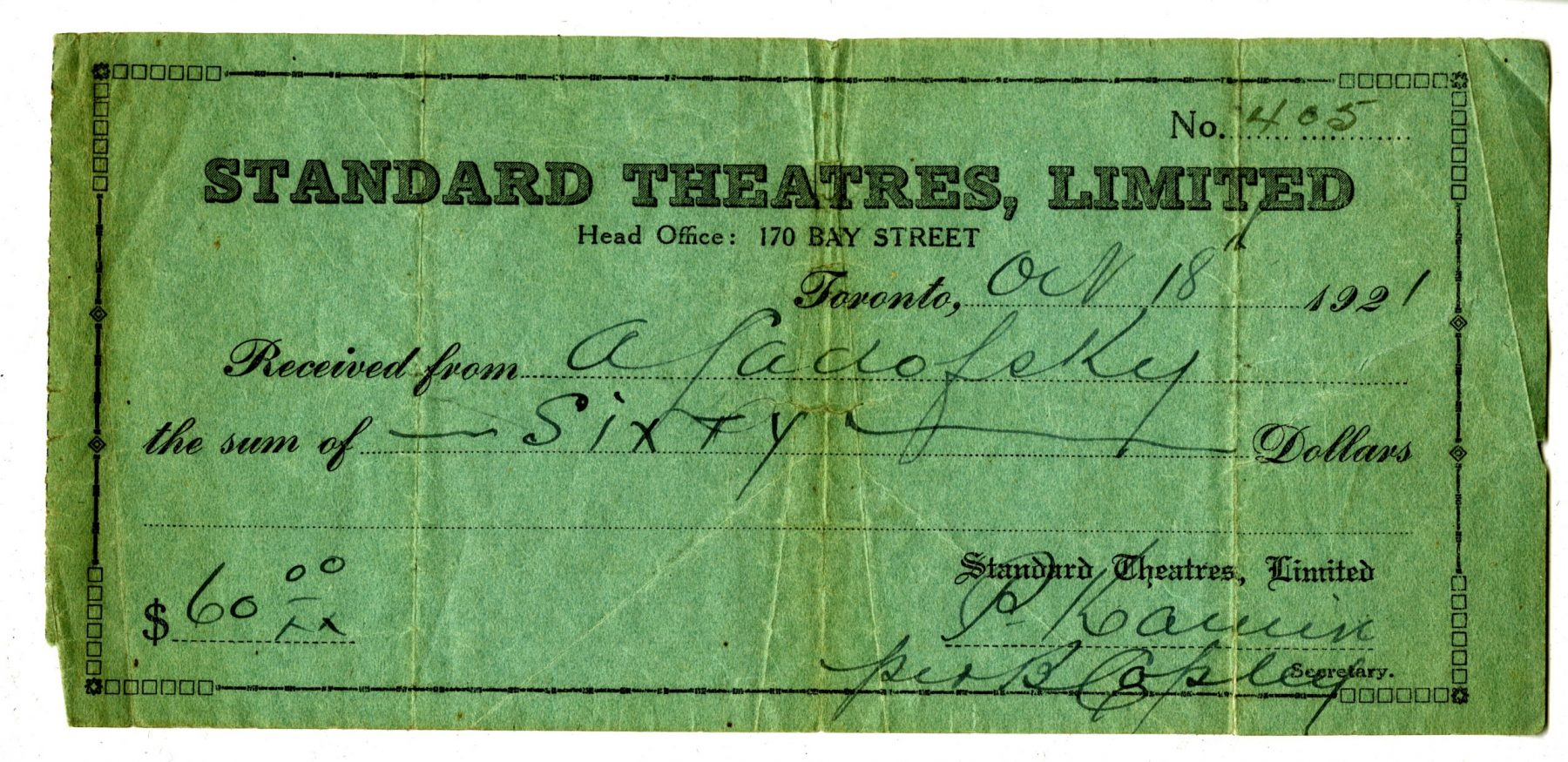 A Standard Theatres Ltd. receipt for $60. This receipt was for the purchase of shares in the theatre, which is the method the company used to fundraise for its construction. OJA, fonds 83, file 5.